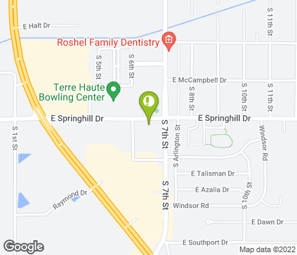 Map of 629 E Springhill Dr in Terre Haute