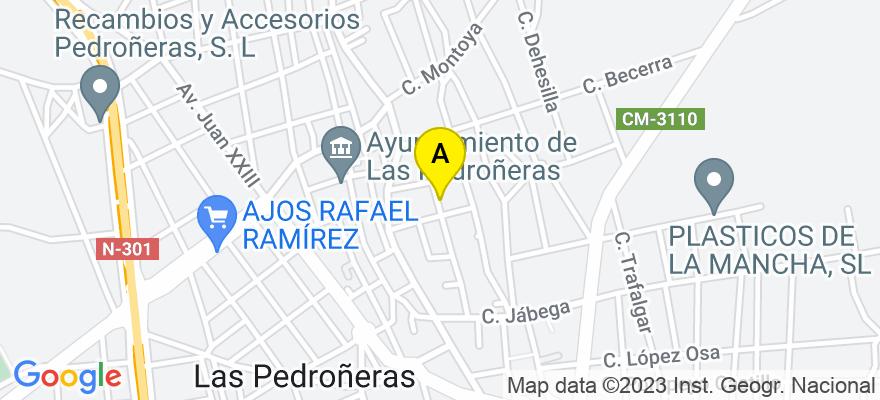 situacion en el mapa de . Direccion: C/ CEA BERMUDEZ, 19, 16660 Las Pedroñeras. Cuenca