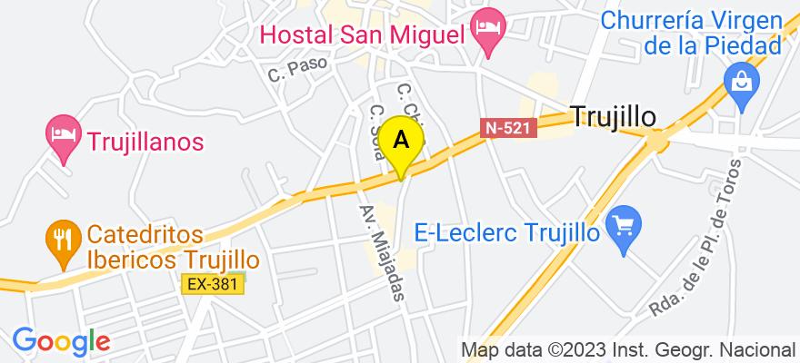 situacion en el mapa de . Direccion: Calle Encarnación 13, 2º B, 10200 Trujillo. Cáceres
