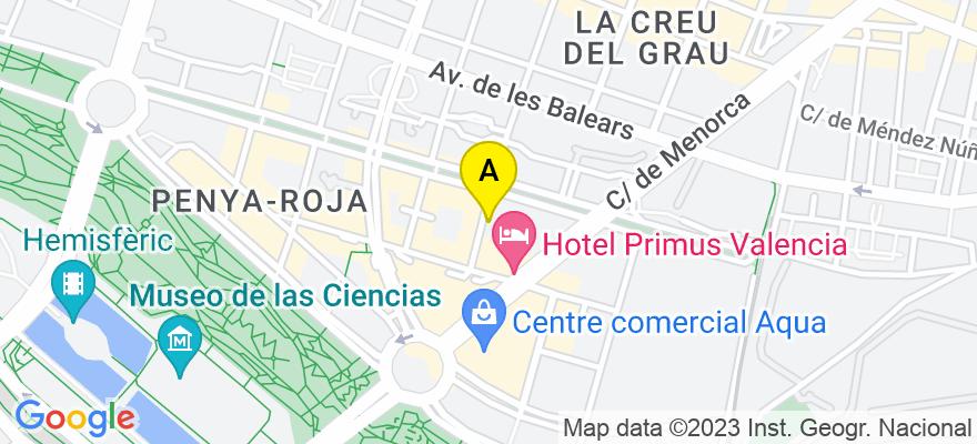 situacion en el mapa de . Direccion: Avda. de Francia 44, entresuelo, 46023 Valencia. Valencia