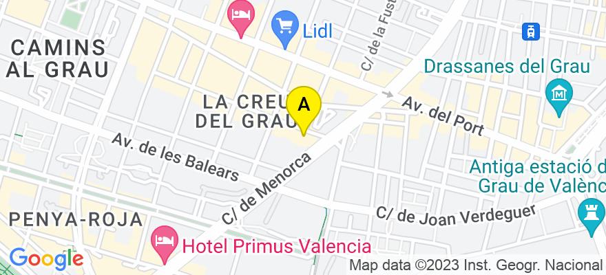 situacion en el mapa de . Direccion: calle Rodrigo de Pertegaz 44, 46023 Valencia. Valencia