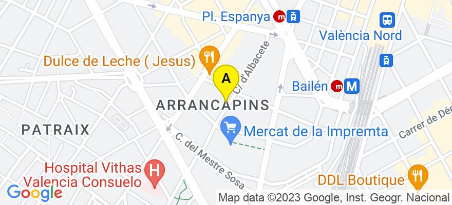 situacion en el mapa de . Direccion: Albacete, nº 42-9ª, 46007 Valencia. Valencia