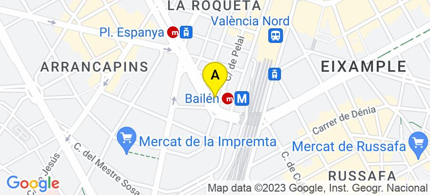 situacion en el mapa de . Direccion: Gran Vía Ramón y Cajal nº 6 - 1, 46007 Valencia. Valencia