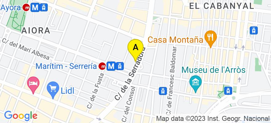 situacion en el mapa de . Direccion: serreria, 41, 46022 Valencia. Valencia