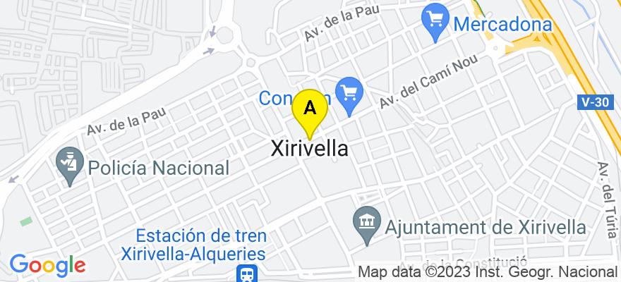 situacion en el mapa de . Direccion: Avenida Virgen de los Desamparados s/n (frente ambulatorio), 46950 Xirivella. Valencia