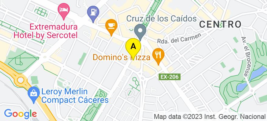 situacion en el mapa de . Direccion: Avenida Alemania nº 5, 3º-V, 100001 Cáceres. Cáceres