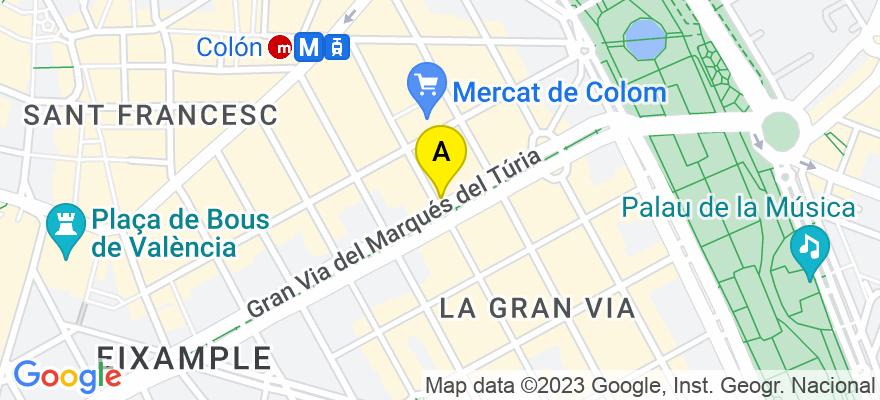 situacion en el mapa de . Direccion: Gran Via Marques del Turia 55, 2ª, 46005 Valencia. Valencia
