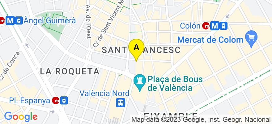 situacion en el mapa de . Direccion: C/ Convento Santa Clara nº 11 - 9ª, 46002 Valencia. Valencia