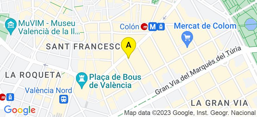 situacion en el mapa de . Direccion: C/de Pizarro, 1, puerta 25, 46004 Valencia. Valencia