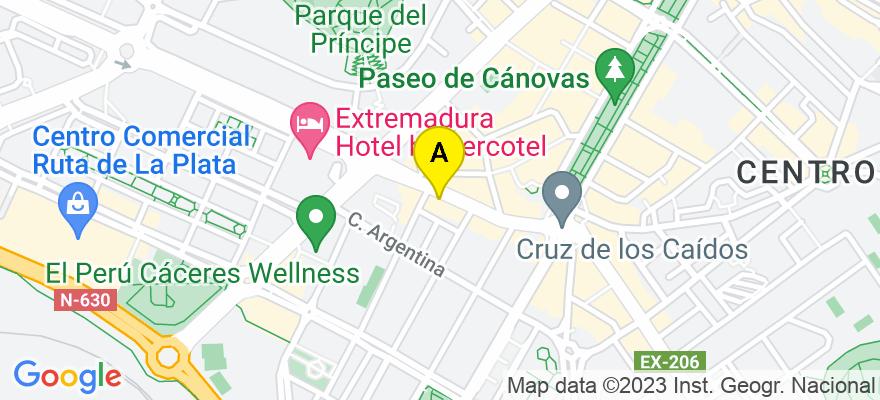 situacion en el mapa de . Direccion: c/ Gil Cordero 13, 5A, 10001 Cáceres. Cáceres