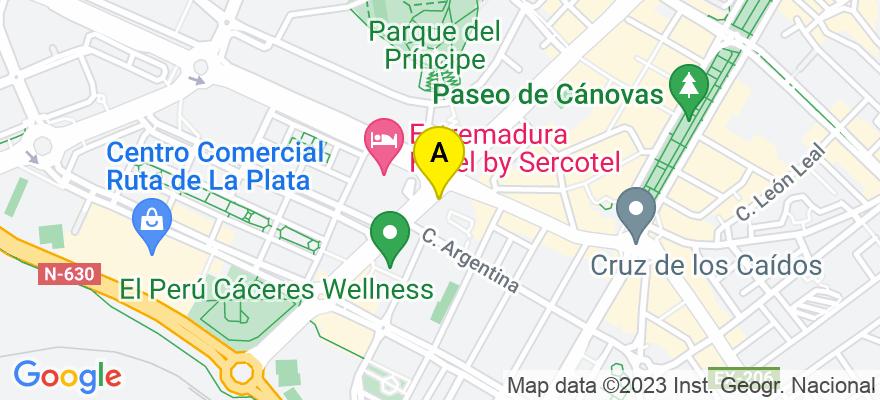 situacion en el mapa de . Direccion: Avenida Virgen de Guadalupe 35-A, 6º, L-2, 10001 Cáceres. Cáceres