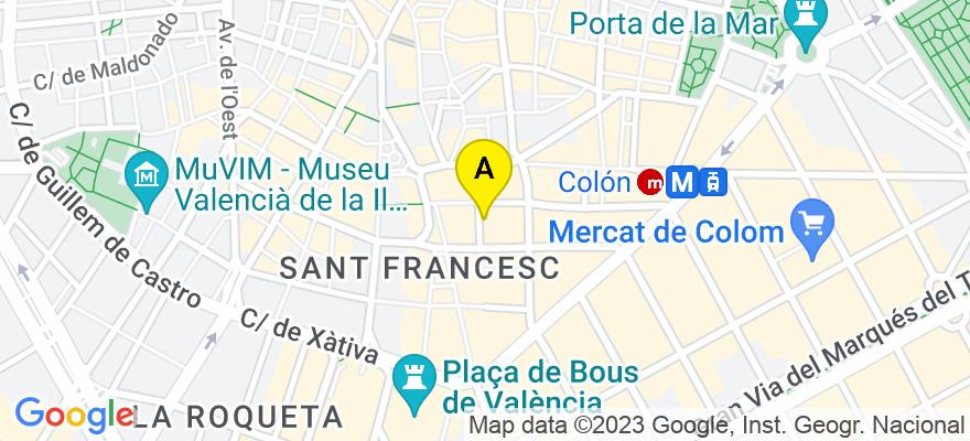 situacion en el mapa de . Direccion: C./ Perez Pujol nº 5-1ª, 46002 Valencia. Valencia