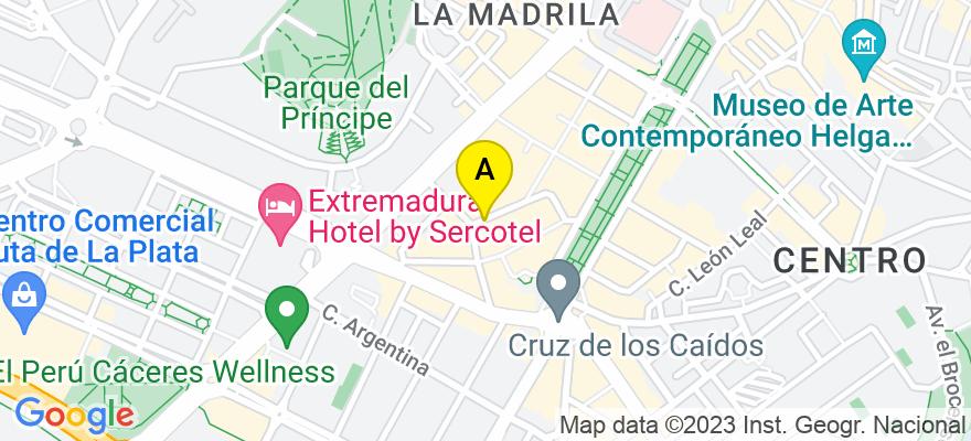 situacion en el mapa de . Direccion: C/ Santa Joaquina de Vedruna, 10001 Cáceres. Cáceres