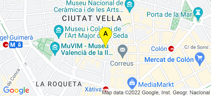situacion en el mapa de . Direccion: Av de la Plata 11, 46002 Valencia. Valencia