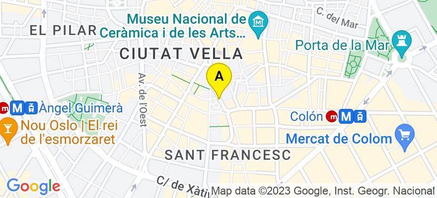 situacion en el mapa de . Direccion: c/ Roger de Lauria nº9 pta.8 (junto Pl.Ayuntamiento), 46002 Valencia. Valencia