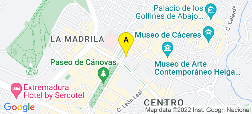 situacion en el mapa de . Direccion: Avenida de España 9, 10005 Cáceres. Cáceres