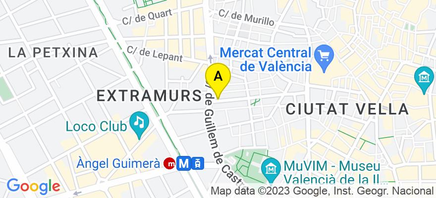 situacion en el mapa de . Direccion: Guillem Sorolla 40-1º-1ª, 46001 Valencia. Valencia