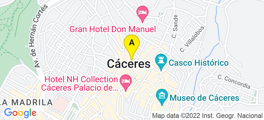 situacion en el mapa de . Direccion: avda virgen montaña, 1, 1. entreplanta, 10004 Cáceres. Cáceres
