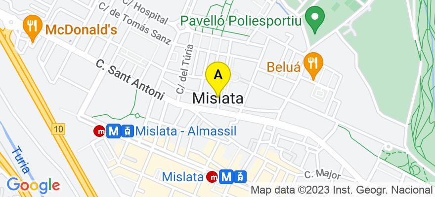 situacion en el mapa de . Direccion: C/ San Carlos nº 11 entresuelo, 46920 Mislata. Valencia