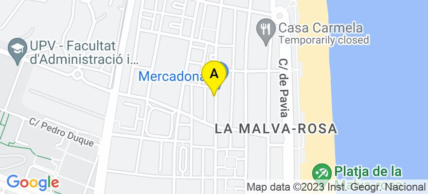 situacion en el mapa de . Direccion: AVDA. MALVARROSA 77, BAJO, 46011 Valencia. Valencia