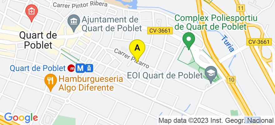 situacion en el mapa de . Direccion: CALLE PIZARRO, 44, 1, 46930 Quart de Poblet. Valencia