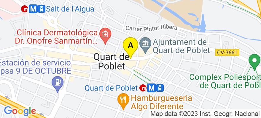 situacion en el mapa de . Direccion: C/Joanot Martorell 23 B, 46930 Quart de Poblet. Valencia