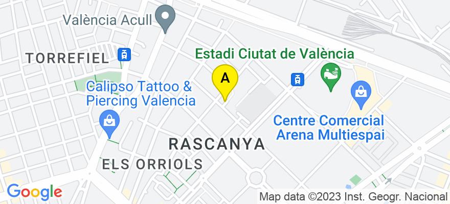 situacion en el mapa de . Direccion: calle alqueria crema,1, 46019 Valencia. Valencia