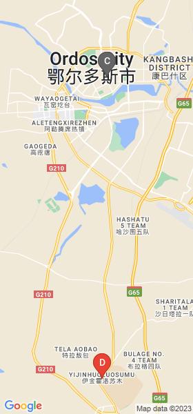 Google MAP Static API によるオルドス市中心部~成吉思汗陵の地図