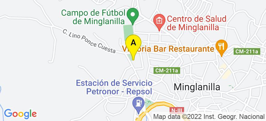 situacion en el mapa de . Direccion: calle lino ponce, nº 5, 16260 Minglanilla. Cuenca