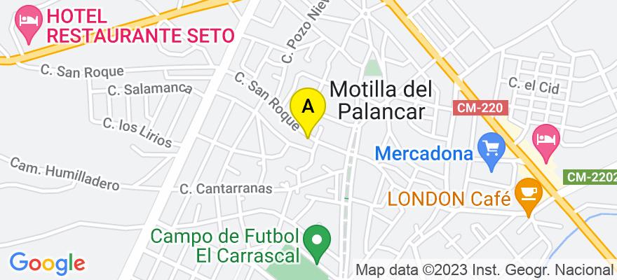 situacion en el mapa de . Direccion: Calle San Roque, nº 1 1º-C, 16200 Motilla del Palancar. Cuenca