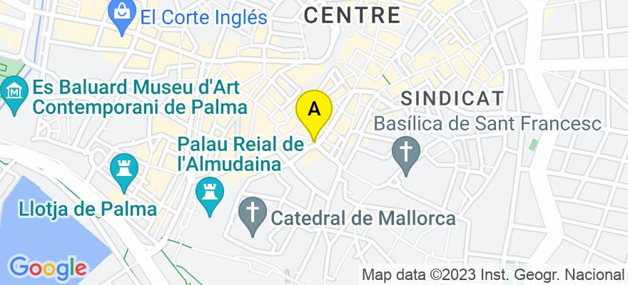 situacion en el mapa de . Direccion: Calle Sant Miquel, nº 46, escalera derecha, 2º piso, 07002 Palma de Mallorca. Islas Baleares