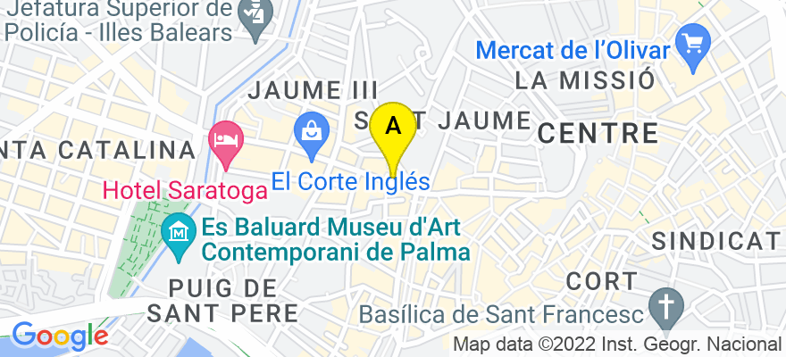 situacion en el mapa de . Direccion: Avenida JAIME III número 4, 07012 Palma de Mallorca. Islas Baleares