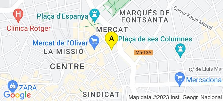 situacion en el mapa de . Direccion: Calle Josep Anselm Clavé, nº 3 Piso 1º A-B, 07002 Palma de Mallorca. Islas Baleares