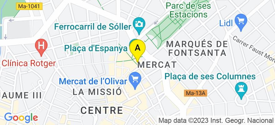 situacion en el mapa de . Direccion: C/ Juarnera, 07005 Palma de Mallorca. Islas Baleares