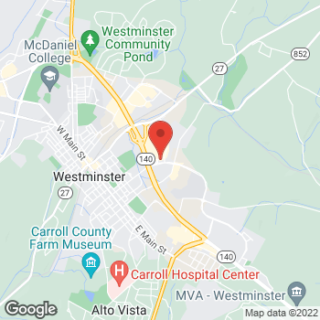Map of Arby's at 120 Mall Ring Rd, Westminster, MD 21157-9311