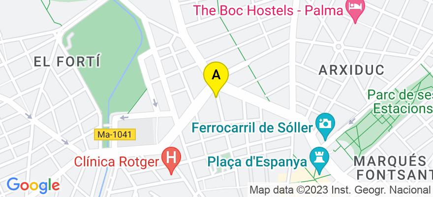 situacion en el mapa de . Direccion: C/ Pere Dezcallar i Net, 13 – 8è – 4ª, 07003 Palma de Mallorca. Islas Baleares