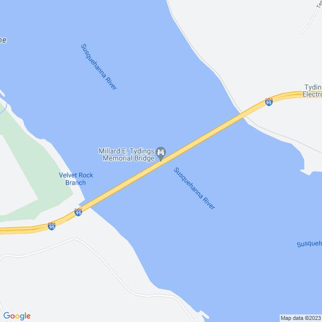 Map of Millard Tydings Memorial Bridge I-95