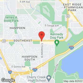 Map of Arby's at 8850 E Hampden Ave, Denver, CO 80231