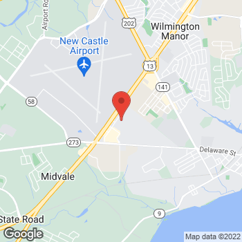 Map of Staples at 128 Sunset Blvd, New Castle, DE 19720