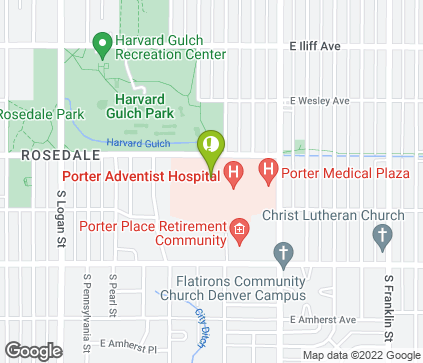 Map of 950 E Harvard Ave in Denver
