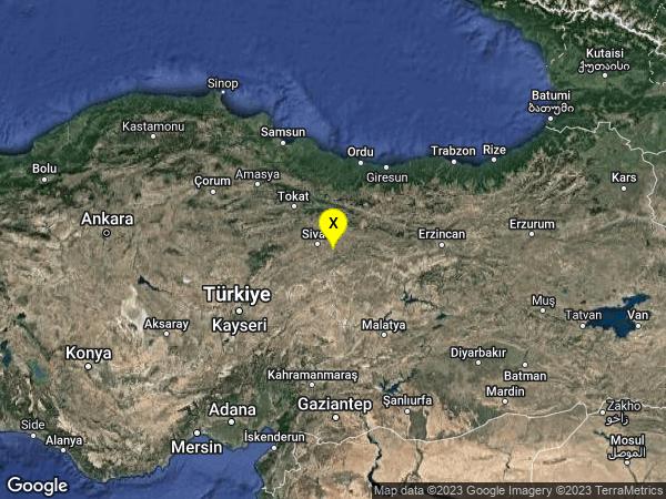 earthquake 20 km SSW of Hafik, Turkey