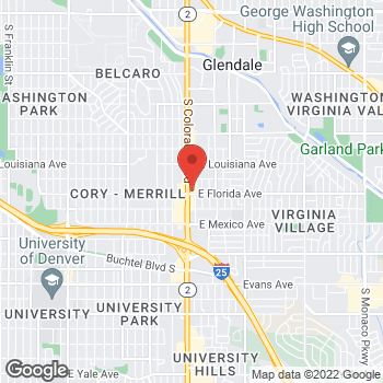 Map of Arby's at 1480 S Colorado Blvd, Denver, CO 80222