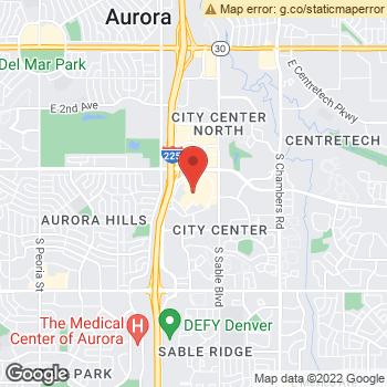 Map of Family First Vision Care - Aurora at 14200 E. Alameda Ave., Aurora, CO 80012
