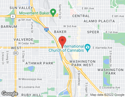Map of 900 West Alameda Ave. in Denver