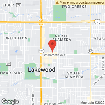 Map of Dr. At Pearl Vision at 7111 W. Alameda Ave, Lakewood, CO 80226