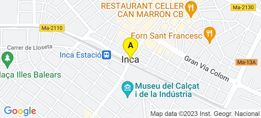 situacion en el mapa de . Direccion: Calle Palmer 18, Entresuelo, 07300 Inca. Islas Baleares