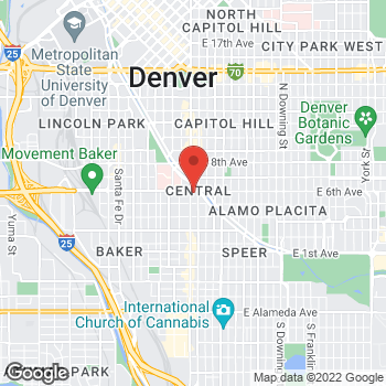 Map of Noodles & Company at 550 Broadway, Denver, CO 80203