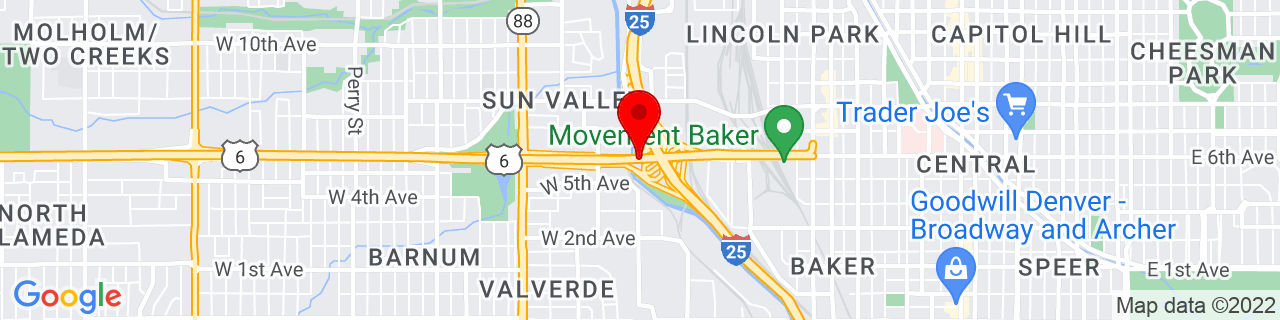 Google Map of 39.7253779, -105.0151187