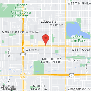 Map of Arby's at 6441 W Colfax Ave, Lakewood, CO 80214
