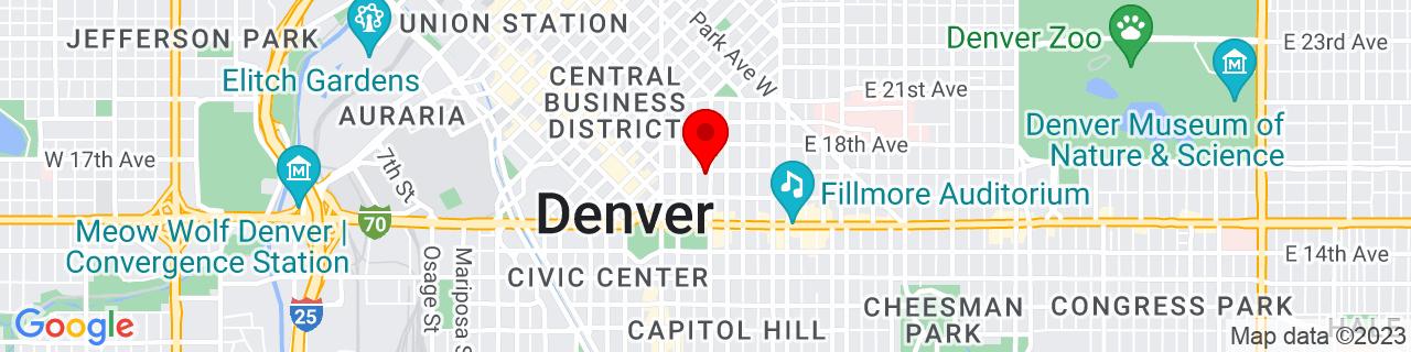 Google Map of 39.7430168, -104.98398